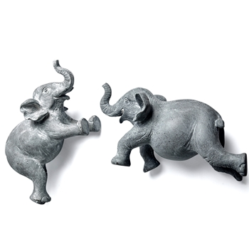 11W/6H Wall Sculpture - Elephant Flying Grey Wash - Sold individually