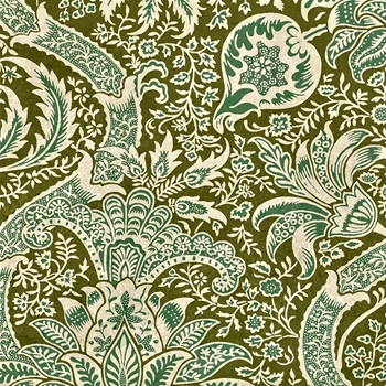 Floorcloth - Indian Olive & Teal - Detail 20SQ - Morris & Co