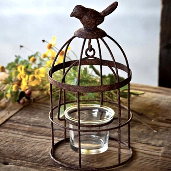 Votive Cage with Bird Top 4W/8H