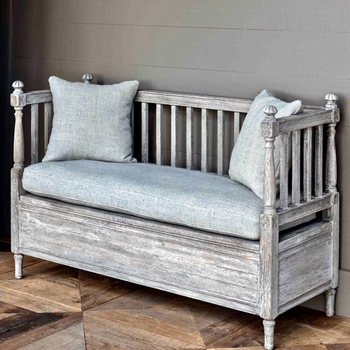Bench - Foyer with Storage - Solid Oak W Linen 53W/20D/35H