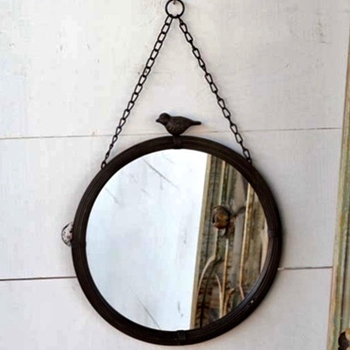 12W/12H Mirror - Bird Top Patina - 22X20 With Chain