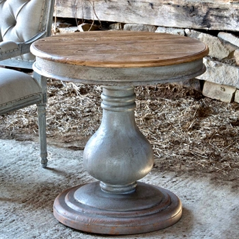 Accent Table - Balustra Pedestal Grey Wash 30RND/30H