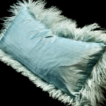 40. Ice Tibet Cushion Aqua Dupioni 24W/12H