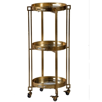Cart - Tray 3Tier Gold 18W/39H