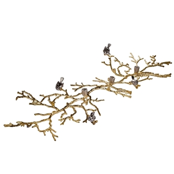 Candle Holder Taper - Bird & Twig Gold 46L/26D