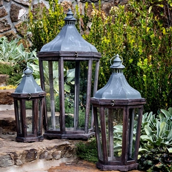 Lantern - Hexagon Patina 14W/32H Set of 3 - SM-7x15, MD-10x23