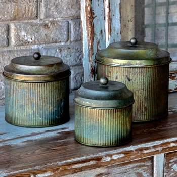 Canister - Verde Patina Metal Set of 3 5-8in