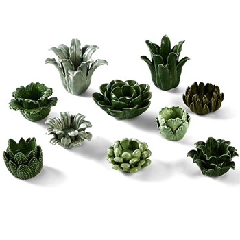 Tealight Cup Green Succulents Asst 3-6in Sold Individually
