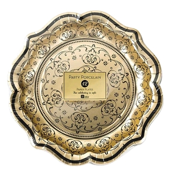 Alice - Paper Plate Gold Lace 9IN 12PK