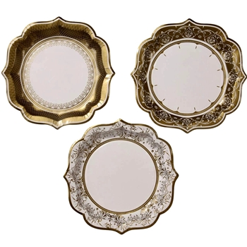 Alice - Paper Plate Gold Lace 9IN 3Asst 12PK