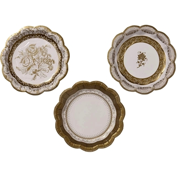 Alice - Paper Plate Gold Lace 7IN 3Asst 12PK