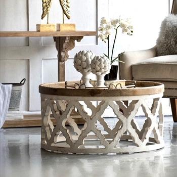 Coffee Table - Lattice 32RND/16H White/Natural