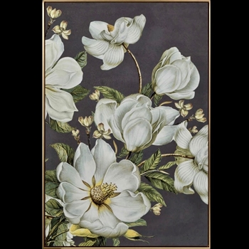 32W/47H Framed Print - Magnolia on Grey