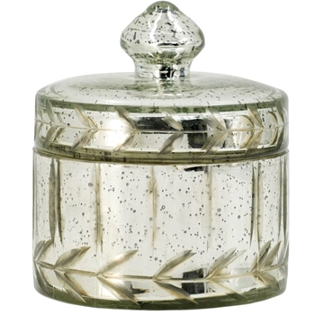 Jar - Silver Mercury Glass 4.5W/5H Small Container