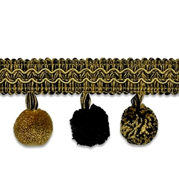 Ball Fringe - Classic 2IN Safari Black/Gold
