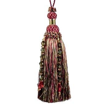 Key-Tassel Krista Beaded 7IN Aubergine