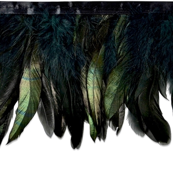 Feather Fringe - Suzu Black & Emerald Natural 5IN