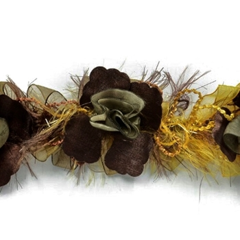 Trim - Ruche Flower Macey Eyelash 3In Safari
