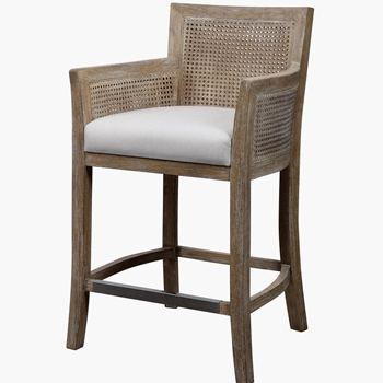 Bar Stool - Encore Counter Driftwood Cane 23W/23D/38H