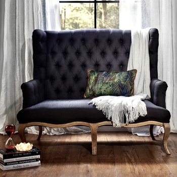 Dining Banquette Settee - Haute Tufted Graphite 52W/31D/44H