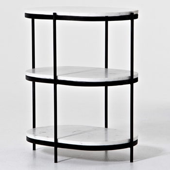 Accent Table - Felix Oval 2 Shelf 12W/16D/26H Black/White