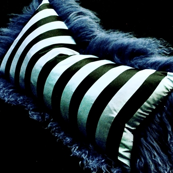 32. Lapis Tibet Blue Taffeta Stripe Cushion 24W/12H
