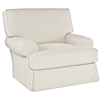 01. Slipcover - Quickship Lauren Armchair Swivel 44W/41D/37H White Cavalier