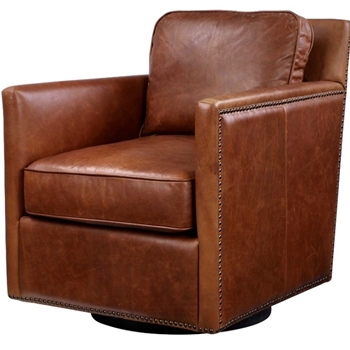 Armchair Roosevelt Swivel Cognac Leather 28W/32D/33H