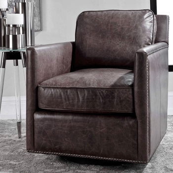 Armchair Roosevelt Swivel Smoke Leather 28W/32D/33H