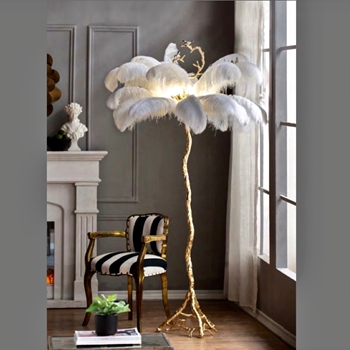 Lamp - Floor Ostrich Plumes White Twig and Bird Column Gold 51W/81H