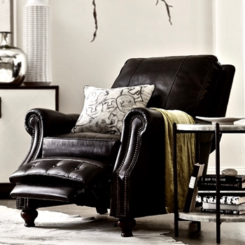 Armchair Recliner - Winslow Leather Old Saddle Black Top Grain 34W/41-68L/42H