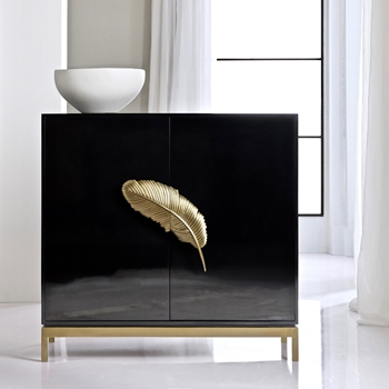 Chest - Wine Bar Black & gold Feather 40W/18D/38H