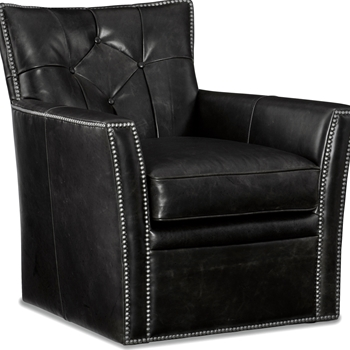 Armchair - Conner Swivel Black Leather 31W/35D/34H
