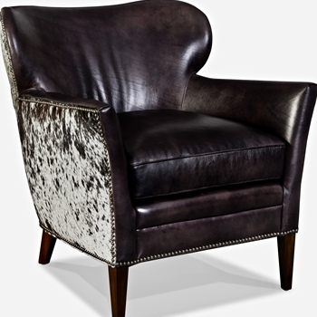 Armchair Wingback Kato Espresso & Salt/Pepper Hair on Hide 29W/33D/32H