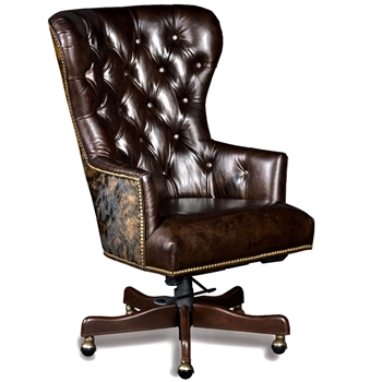 Armchair Wingback  Katherine Swivel Desk 27W/33D/44H Brindle Hair on Hide Back