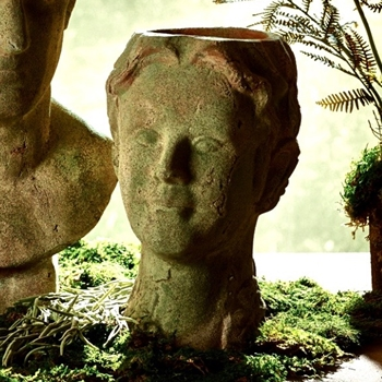Planter - Aged Moss Garden Youth Bust 8W/13H
