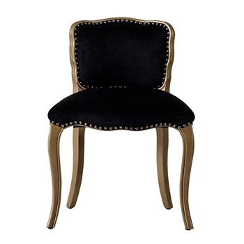 Dining & Accent Chair - French Armless Black Velvet Champagne Pearl Wood 21W/21D/30H