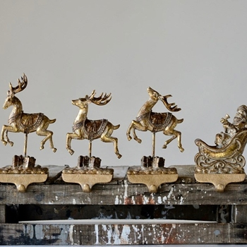 68. Ornament - Mantle Hooks - Raindeer & Santa Sleigh 10in Gold - Each Piece Sold Separately