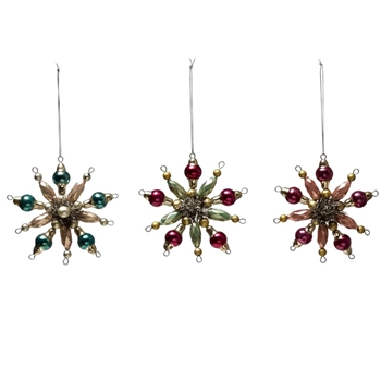 01. Ornament - Snowflake Beaded 4in