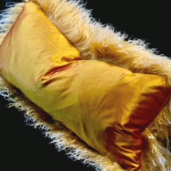 69. Yellow Tibet Saffron Shantung Cushion 24W/12H