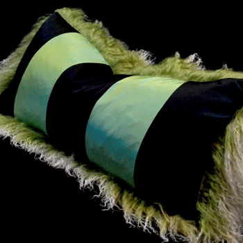 57. Kiwi Tibet Jade Silk Stripe Cushion 24W/12H
