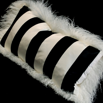 16. Tibet Ivory - Black & White Taffeta Stripe Silk Cushion 24X12