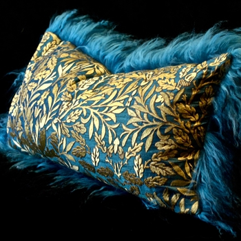 42. Teal Tibet Cushion Verde Silk Dupioni Oakleaf Gold 24W/12H