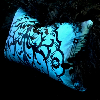 39. Black Tibet Cushion Azure Silk Shantung Garden Gate Toile 24W/12H