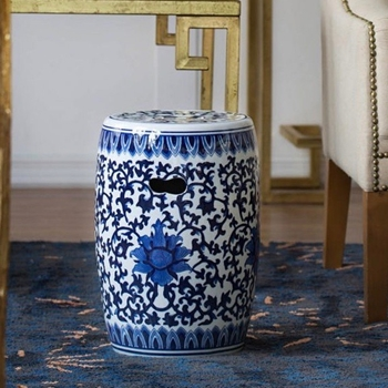 Accent Table - Garden Stool Delft Chinoise Ceramic 11W/16H