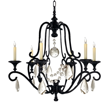 Chandelier - Piedmont 6L Aged Iron Black & Seeded Glass 32W/33H - Designer - E.F. Chapman for Visual Comfort