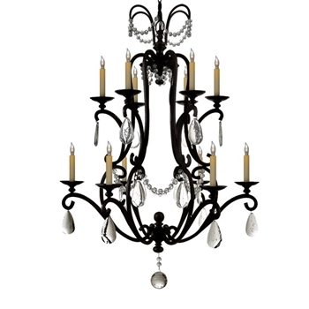 Chandelier - Orvieto 12L Aged Iron Black & Seeded Glass 34W/44H - Designer - E.F. Chapman for Visual Comfort