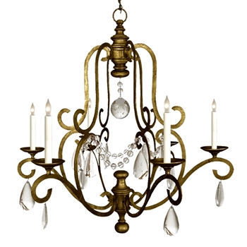 Chandelier - Piedmont 6L Gilded Iron & Seeded Glass 32W/33H - Designer - E.F. Chapman for Visual Comfort