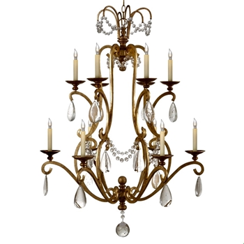 Chandelier - Orvieto 12L Gilded Iron & Seeded Glass 34W/44H - Designer - E.F. Chapman for Visual Comfort