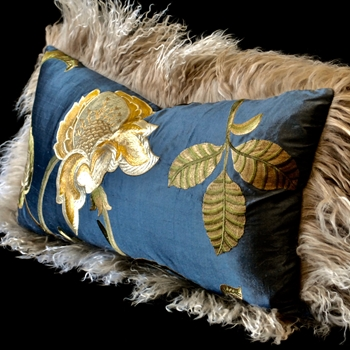 33. Flax Tibet Magnolia Steel Bronze Cushion 24W/12H